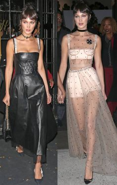 Bella Hadid Parties In A Black Bustier & Sheer Dress After Landing The Victoria's Secret Fashion Show!