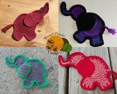 Happy Little Elephant Appliqué - free crochet pattern by Sweet Potato Crochet Creations.