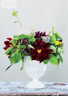 Dramatic fall flower arrangement {PHOTO: Ashley Capp}