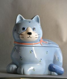 Blue cat cookie jar