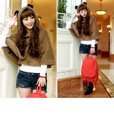 YESSTYLE: 59 Seconds- Bear Ear Fleece Blanket Cape (Brown - One Size) - Free International Shipping on orders over $150