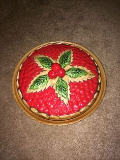 Ceramic Cherry Pie Plate And Cover Hand Painted Pie