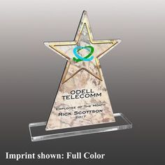 Star Shaped Full Color Acrylic Awards - Large Custom Trophies, Acrylic Awards, Trophy Design, Star Shape, Corporate Gifts, Triangle, Stars, Holiday Decor, Color