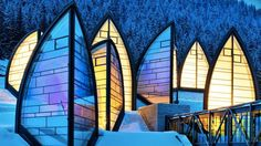Located in Arosa, Switzerland, this hotel's wellness center was created by Architect Mario Botta with not only healing properties from within– but a beautiful piece of architecture to create positive energy from the outside as well.