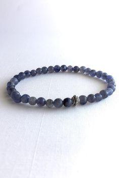 Iolite Bracelet, Purple Stone Jewelry, Stretch Sterling Silver Bead Bracelet