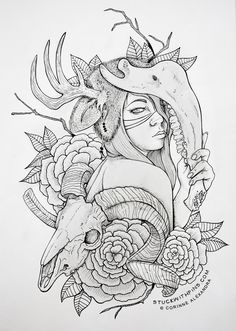 Shifting (by Corinne Alexandra) Finally got around to taking a full picture of this! All shading and details are made up of stippling (dots) and lines. See a close detail here! Hand drawn on sketch paper with Staedtler pigment liners | 8 hours