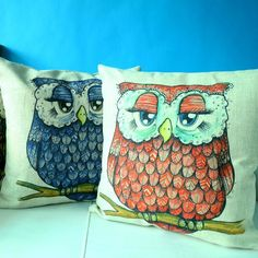 Blue Owl throw pillow hand painted style cheap animal sofa cushions for sale