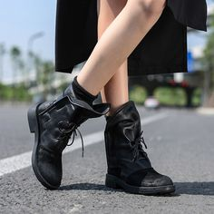 Heel Height: about 3 cm. Shaft Height: about cm. Circumference:about cm. Cow Leather, Leather Heels, Boot Types, Martin Boots, Motorcycle Boots, Black Ankle Boots, All Black Sneakers, Party Outdoor, Woman Shoes