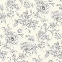 Aquitaine Charcoal (AQUITAINE CHARCOAL) - iliv Wallpapers - An elegant wallpaper featuring an all over, floral trailing design. Shown here in off white and charcoal grey. Other colourways are available. Please request a sample for a true colour match.