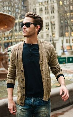 Tan Cotton Cardigan, Classic Black Tee, and Distressed Jeans. Men's Spring Summer Fashion.