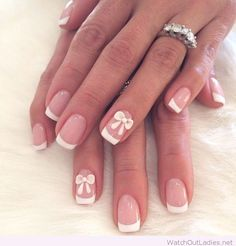 Lovely french manicure with bows