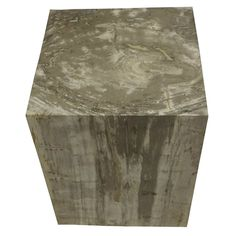 """POLISHED SQUARE PETRIFIED WOOD STOOL Dimensions 14"""" (W) x 14"""" (D) x 19"""" (H) Polished Square Petrified Wood Stool Matching set available, Item #069 Petrified Wood Side Table offered by Organic Findings. Our Petrified Wood Tables are part of a large collection of unique objects. We combine contemporary design ideas with global product sourcing. Organic Findings sources the highest quality petrified wood, please visit our online store."""
