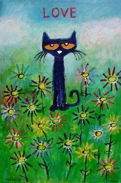 Pete the cat, summer of love Pete The Cat Art, Black Cat Art, Black Cats, Cat Activity, Curious Creatures, Cat Drawing, Crazy Cats, Weird Cats, Art Auction