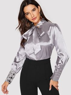 Tie Neck Blouse, Blouse And Skirt, Blouse Outfit, Ruffle Blouse, Satin Top, Silk Satin, Mode Outfits, Fashion Outfits, Satin Underwear