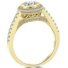 1.14 Carat G-SI1 Natural Round Diamond Engagement Ring 14k Yellow Gold Pave Halo - Thumbnail 2