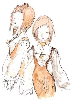 Final Fantasy IX - Garnet Concept Art - Yoshitaka Amano