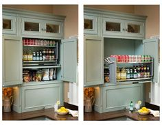 Handy pull down shelving is easily grasped and brought down and out. #UniversalDesign #organize