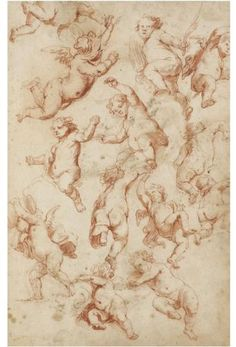 LOT 146 CIRCLE OF SIR PETER PAUL RUBENS, SIEGEN, 1577 - 1640 ANTWERP RECTO: SHEET OF STUDIES OF PUTTI; VERSO: A STUDY OF A WOMAN ESCAPING A SEA MONSTER AND A PAIR OF LOVERS Red chalk and wash within brown ink framing lines (recto); pen and brown ink and grey wash over red chalk (verso); bears lettering in pencil, verso: Ch ; Coll 323 by 210 mm ESTIMATE 3,000 - 4,000 GBP
