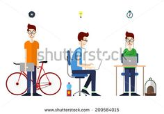Office. Flat style vector illustration.Office Worker, Product Presentation, Development for Business Design.Illustration of manager working with computer in modern office workspace.Designer. - stock vector