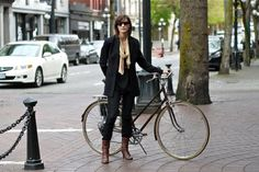Chic cyclist in Vancouver