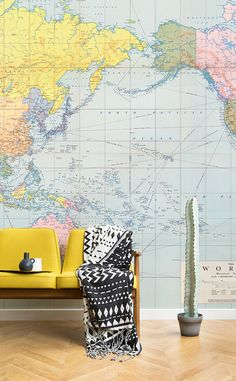 Mapping out your next adventure? This vintage map wallpaper brings playful pastels to your walls while releasing your inner wanderlust! Perfect for mid-century modern living spaces looking for a contemporary wall covering.