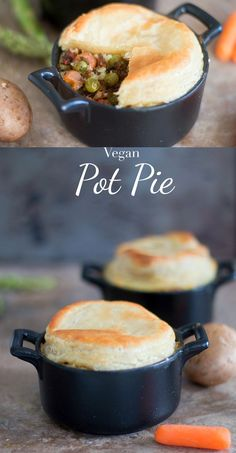 Quick and easy vegan pot pie recipe. Made with all fresh vegetables and uses almond milk instead of butter for basting. Make for perfect vegan comfort food sponsored /puffpastry/ inspiredbypuff Vegan Pot Pies, Vegan Dishes, Vegan Pie, Vegan Food, Pie Recipes, Dinner Recipes, Cooking Recipes, Party Recipes, Easy Cooking