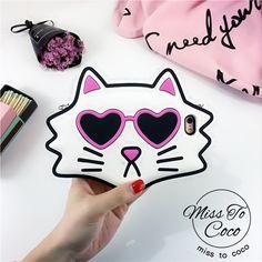 Komische Brille Katze silikon Handyhülle mit Kette für Iphone6/6s/6plus