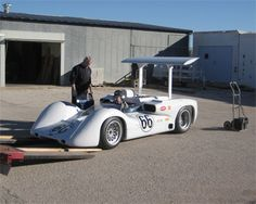 Jim Hall driving his continuation model of the Chaparral 2E on to