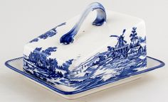 Royal Doulton Norfolk Cheese Dish c1936 Royal Doulton, Norfolk, Cheese Dishes, Blue China, Travel Design, Ovens, White Decor, Butter Dish, Tattoo Quotes