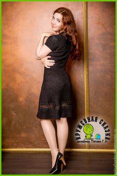 Купить Вязаное платье МОЖЕТ БЫТЬ - черный, черное платье, повседневное платье, платье черное