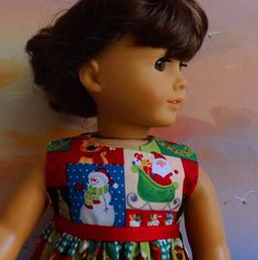 American Girl Doll Clothes Long Dress Christmas by sewgrandmacathy