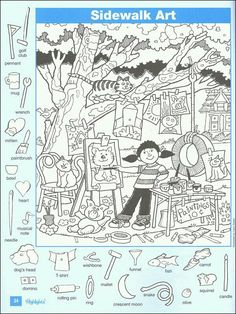 The favorite part of Highlights magazine for many kids—and even parents—is the hidden picture puzzles. With dozens available online for free, . Hidden Pictures Printables, Highlights Hidden Pictures, Hidden Picture Puzzles, Highlights Magazine, Sidewalk Art, Hidden Objects, Heart Painting, Colouring Pages, Free Coloring