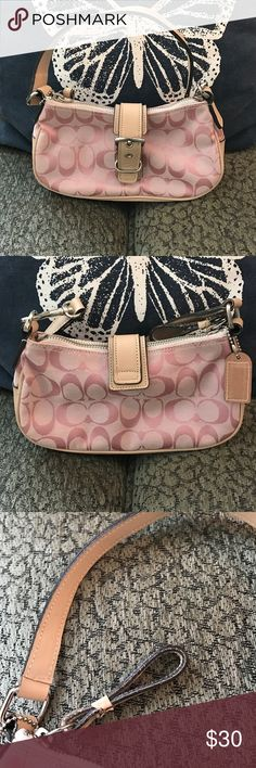 Small pink Coach bag! Small pink coach bag, taken out into the world only a handful of times. Small wearing around zipper pull, see photo and small indentations on bottom, see photo. Small stitch slip along magnetic closet of bag, see photo. Clean inside and outside. Authentic! Coach Bags Mini Bags