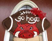 Arkansas Razorbacks Burlap Football Door Hanger
