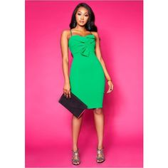 Courtney Green Bow Front Midi Dress (2.035 RUB) ❤ liked on Polyvore featuring dresses, calf length dresses, pink midi dress, green day dress, midi day dresses and bow dress