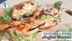 #LowCarb Roasted Garlic & Artichoke Stuffed Chicken Shared on https://www.facebook.com/LowCarbZen