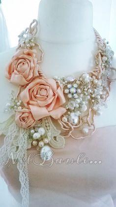 Bijou textil,fabric,jewellers,bijou,necklace,rose,stoffa rose