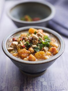 Chunky squash & chickpea soup - With herby toasted nuts and seeds Jamie Oliver Soup Recipes, Cooking Recipes, Healthy Recipes, Fish Recipes, Recipies, Chickpea Soup, Bean Stew, Roasted Squash, Butternut Squash Soup