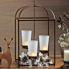 Traditional design, centerpiece, holiday, Christmas decor, P91322 Framework Candle Lantern by PartyLite Gifts