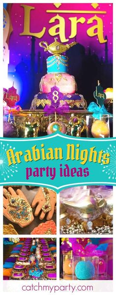 Take a look at this amazing Arabian Nights birthday party! The birthday cake is absolutely stunning! See more party ideas and share yours at CatchMyParty.com #partyideas #arabiannights