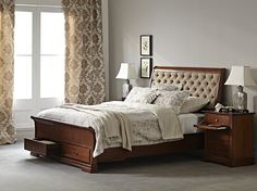 Juliet Queen Bed Frame with upholstered headboard & storage base main product image 1