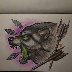 Wolf drawing . Its up For grabs #wolftattoo#gaddning#ink#art#newschool#arrow#sketchbook#göteborg#unikumtattoo