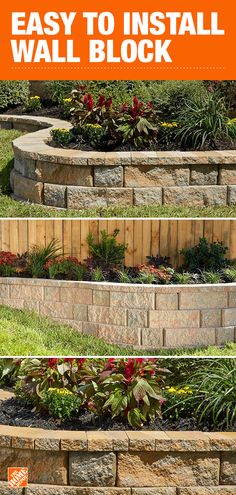 Pavestone's RockWall system can be configured in a variety of ways to create seven different wall options that naturally flow with your landscape's contours. Discover all the possibilities for your outdoor space at The Home Depot. Garden Yard Ideas, Backyard Patio Designs, Lawn And Garden, Garden Beds, Garden Projects, Fence Ideas, Bed Ideas, Outdoor Landscaping, Front Yard Landscaping