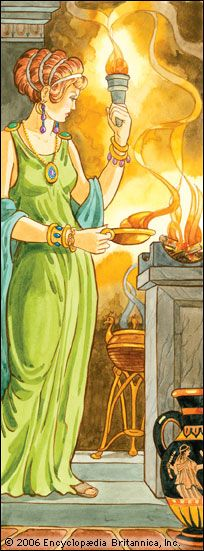 Goddess Hestia. Hearth and home