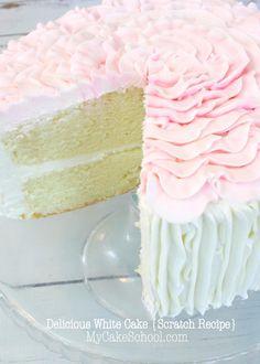Delicious Scratch White Cake Recipe by MyCakeSchool.com! Online Cake Tutorials