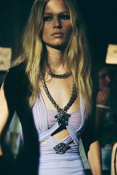 Beautiful Contrasts - sheer  feminine pleats + chunky metals #fashion