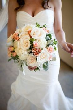 The bridal bouquet will be a combination of ivory garden roses, peachy-pink garden roses, pale pink spray roses, green hypericum berries, and greay dusty miller wrapped in natural bulap topped with lace with the stems showing. Silk Flower Bouquets, Bride Bouquets, Peach Bouquet, Perfect Wedding, Our Wedding, Dream Wedding, Spring Wedding, Autum Wedding, Floral Wedding