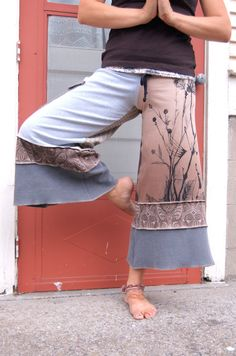 Patchwork Eco Gaucho PANTS upcycled clothing cropped yoga by zasra, $75.00