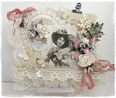 A shabby chic card by Tracy using the Paris Flea Market collection and vintage image from the Elegant ladies sheet