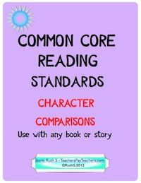 Common Core Alert! Character Comparisons. Use with any book or story! Ready to print student worksheets with instructions. priced item.